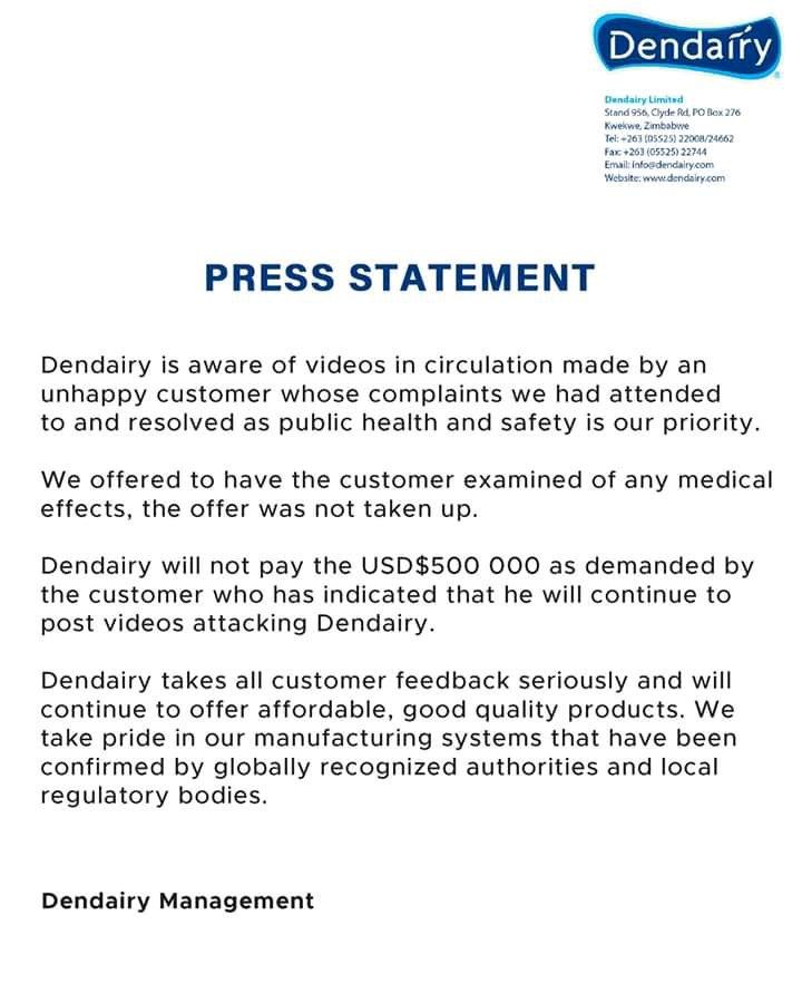 Dendairy press statement